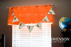 orange burlap curtains + a book pocket for the bed made of the same fabric Boys Curtains, Burlap Curtains, Valance Curtains, Cottage Homes, How To Make Bed, New Furniture, Hunters, Great Rooms, House Tours