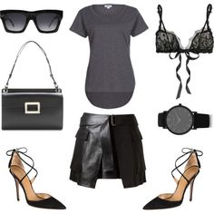 Sexy by fashionlandscape on Polyvore featuring Mode, LnA, Alexander McQueen, Hanky Panky, Aquazzura, Roger Vivier, Larsson & Jennings and CÉLINE