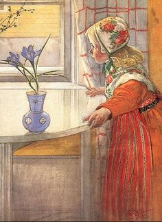 carl larsson -  I had this hat and shawl as a small child.