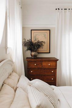 White Bedroom Dark Furniture, Dark Wood Furniture, Dark Wood Dresser, Dresser As Nightstand, Wood Home Decor, Room Decor, Room Inspiration, Apartment Therapy, California