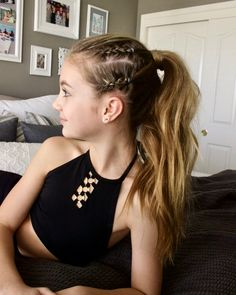 Corn rows into a messy ponytail