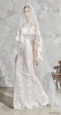 zuhair murad spring 2020 bridal sleeveless with strap v neck full embellishment elegant fit and flare sheath wedding dress sweep train (10) mv -- Zuhair Murad Spring 2020 Wedding Dresses | Wedding Inspirasi #wedding #weddings #bridal #weddingdress #weddingdresses #bride #fashion  ~