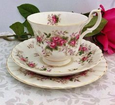 """Royal Albert """"Lavender Rose"""" Tea Trio ~ I have this cup & saucer Tea Cup Set, My Cup Of Tea, Cup And Saucer Set, Tea Cup Saucer, Teapots And Cups, Teacups, Shabby Chic Antiques, China Tea Sets, Rose Tea"""