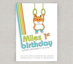 Gymnastics Party Invitation. $18.00, via Etsy. - this one makes me smile :)