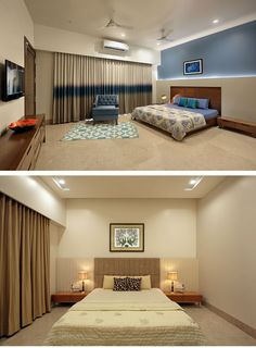 Sky's the Limit for This Brick-and-concrete Bungalow - dress your home - best interior design bl Wardrobe Design Bedroom, Bedroom Bed Design, Bedroom Wall Colors, Bedroom Furniture Design, Home Room Design, Home Decor Furniture, Living Room Designs, House Design, Indian Bedroom Decor