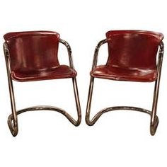 Pair of Italian Leather and Chrome Chairs