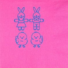 Printed & Ready to Ship 3-Ply Easter Napkins CHICKS & BUNNIES