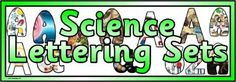 Free printable science themed digital lettering sets for classroom bulletin display or scrapbooking