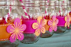 ♥DIY~ Paper Flowers cut with the Silhouette Cameo! Cut paper flowers with my I used the Silhouette CAMEO to attach to ribbons for mason jars. The Mason Jars were wrapped with ribbon (held on by gluedots – greatest invention EVER!) and pink striped paper straws from my etsy shop – Little Free Radical on Etsy - were placed in each for the lemonade! Perfect Beach Bridal Shower Refreshments!