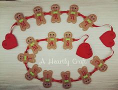 Gingerbread Man Merry Christmas Happy Holidays Bunting Banner Fireplace Wall Display Decoration by AHeartlyCraft on Etsy