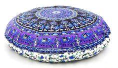 Indian Elephant Mandala Huge Meditation Round Floor Cushion Cover Pillow Sham | Cushions | Home Decor - Zeppy.io