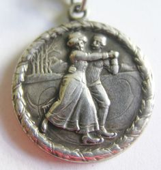 Antique Art Nouveau C 1900s German Silver Ice Skaters Winter Charm Gorgeous | eBay