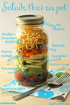 Cinq Fourchettes etc. Mug Recipes, Raw Food Recipes, Salad Recipes, Vegetarian Recipes, Cooking Recipes, Healthy Recipes, Mason Jar Meals, Meals In A Jar, Pot Mason