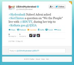 Found an old tweet from @U.S. and Hyderabad about my meeting with #SecClinton , through @Flo Hogen