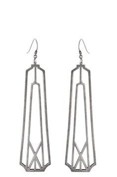 Deco Frame Earrings   Sterling Silver - $130.
