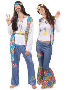 Hippie Kostüm 60er Jahre: Das Hippie Kostüm für Herren besteht aus ein T-shirt, eine Weste, eine Hose, ein Stirnband und ein Medaillon (die Perücke ist nicht inbegriffen).Das weiße T-shirt ist...