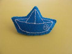 Loja de Pregadeiras, Pins e crachás * Origami boat Felt Brooch