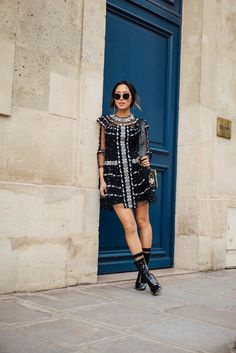 Aimee of the blog Song of Style shares her dressy look, worn to the Dior show during Paris Fashion Week in March of 2017.