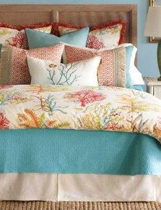 Escape to a tranquil getaway in your own home. Bright and colorfully punchy, coral is paired with soothing turquoise in our Tropical Turquoise Reef bedding. The pieces are inspired by the rich colors of underwater realms and detailed coral and sea. Nautical Bedding, Rustic Bedding, Modern Bedding, Tidy Room, Bedroom Turquoise, Tropical Bedrooms, Dreams Beds, White Bedroom Furniture, Minimalist Room