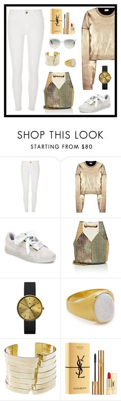 """""""Untitled #1834"""" by ebramos ❤ liked on Polyvore featuring River Island, Yves Saint Laurent, Puma, Jérôme Dreyfuss, Newgate, Jacquie Aiche, Oblik Atelier and Ray-Ban"""