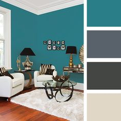 Keep the 'impact colour' to one so the room remains energetic without being busy. Teal Rooms, Living Room Turquoise, Living Room Green, Living Room Paint, Living Room Decor, Living Rooms, Family Room Colors, Narrow Living Room, Room Color Schemes