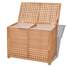 vidaXL Cesto para ropa sucia madera maciza nogal 89x46x67 cm[4/7] Hamper, Outdoor Furniture, Outdoor Decor, Ideas Para, Laundry Room, Sweet Home, Basket, Storage, Inspiration