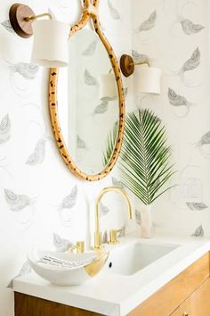 """The powder room was the one room where the client was open to wallpaper, but she she didn't want anything too fancy or formal.  I chose """"Pajarito"""" because it's whimsical and modern, and the stipling gives it a wonderful energy.  With classically mod... - See more at: http://www.decorist.com/showhouse/room/8/powder-room/#sthash.YyHsvTET.dpuf"""