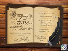 Book Themed Baby Shower Invitation, Storybook Themed, Once Upon a Time Baby Shower Invitations, Book Themed, Baby Book, Library, Printable