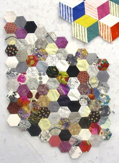 Janell's eclectic hexies! (Also from City Quilter).