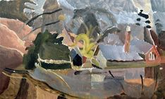 House by Lake by Ivon Hitchens Abstract Landscape Painting, Landscape Art, Landscape Paintings, Landscapes, Color Plan, Spring Landscape, Action Painting, Ouvrages D'art, Impressionist Paintings