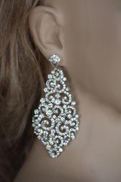 Bridal Chandelier earrings wedding jewelry Swarovski Crystal ...