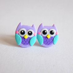 Owl Costume, Owl Earrings, Owl Jewelry, Small Girls Earrings, Halloween Earrings, Halloween Jewelry, Halloween Costume Polymer Clay Earrings