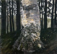 Birch in a Forest, 1903 by Gustav Klimt, Golden phase. Symbolism. landscape. Private Collection