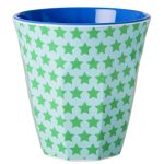 Green/Blue Star Print Melamine Cup by RICE DK at www.pinksandgreen.co.uk