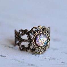 Multicolored Opal Ring by ElvesGarden on Etsy