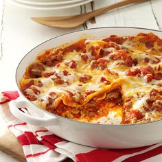 One Skillet Lasagna Recipe -This is hands-down one of the best skillet lasagna recipes our testing panel has ever tasted. With classic flavors and cheesy layers, it's definitely kid-friendly. —Taste of Home Test Kitchen
