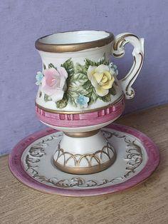 Unique Vintage Lego Japan teacup and saucer, Applied pink roses, Demitasse tea cup, Bisque porcelain teacup, Yellow roses tea cup,