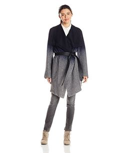 681da66b2f69 BB Dakota Women's Deva Ombre Coat with Faux Leather Belt, Blue, Large BB  Dakota