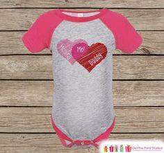 Girls Valentines Day Outfit - Pink Raglan Shirt - Mommy + Daddy = Me Onepiece - Novelty Valentine Shirt for Baby Girl - Valentine Raglan Tee