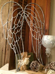 White washed metal angel wings by REFINDdesigngals on Etsy