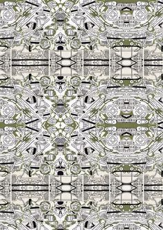Amelia Robinson: Dissected car parts made into a striking fabric print.