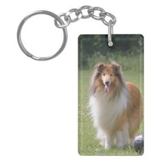 Rough Collie dog beautiful photo portrait, gift Double-Sided Rectangular Acrylic Keychain