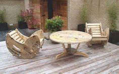 Wire spool deck furniture.