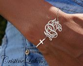 Celebrity Style Sideways Cross Bracelet with Monogram Initials Charm - Order Your Initials - Sterling Silver