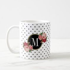 Cute Black White Dots Vintage Roses Gold Monogram Coffee Mug - black and white gifts unique special b&w style Alphabet Mugs, Letter Mugs, Friend Mugs, Best Friend Mug, Vintage Rose Gold, Vintage Roses, Vintage Diy, Vintage Gifts, Black Coffee Mug