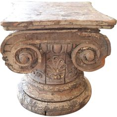 Wooden Iconic Column Capital Table/Fragment ❤ liked on Polyvore featuring home, furniture, tables, accent tables, low table, wood table, home wood furniture, low coffee table and wooden accent table