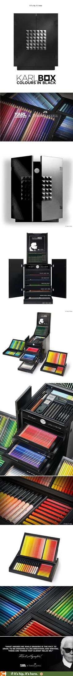 Wow. The new KARLBOX, a collaboration between Karl Lagerfeld and Faber-Castell is a 350-piece art supply kit housed in a box inspired by a Chinese Wedding Chest.