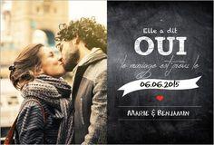 Faire-part de Mariage Création. Disponible en 4 formats et à personnaliser sur Popcarte.com