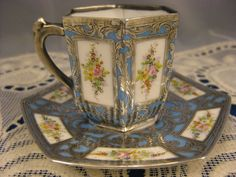 Sterling Overlay - Petite Hand Painted Cup & Saucer
