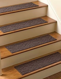 Water Glutton Stair Treads, Set of 4 by Gardener's Supply. $59.95. Super-absorbent tread provides sure footing on stairs, indoors or out, and traps mud and water to keep floors clean. Sturdy, crush-resistant polypropylene and rubber tread stands up to heavy foot traffic. Choice of Evergreen, Charcoal, Medium Brown or Dark Brown.